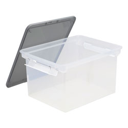 Storex Portable File Tote with Locking Handles, Letter/Legal Files, 18.5 in x 14.25 in x 10.88 in, Clear/Silver