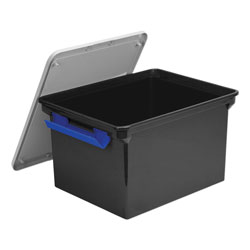 Storex Portable File Tote with Locking Handles, Letter/Legal Files, 18.5 in x 14.25 in x 10.88 in, Black/Silver