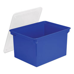 Storex Plastic File Tote, Letter/Legal Files, 18.5 in x 14.25 in x 10.88 in, Blue/Clear