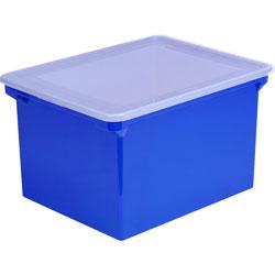 Storex File Tote, w/ Lid, Lgl/Ltr, 14-1/4 inx19 inx10-7/8 in, Blue/Clear