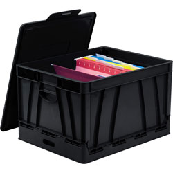 Storex Collapsible Crate w/Lid, 13-3/5 in x 20 in x 10-2/5 in, Black