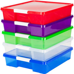 Storex Craft Box, Stackable, 14 inWx14 inLx3 inH, 5/CT, Assorted