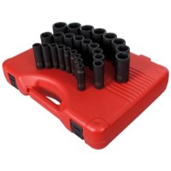 Sunex 26 Piece 1/2 in Drive Deep Metric Impact Socket Set