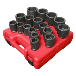 Sunex 17 Piece 3/4 in Drive 6 Point SAE Heavy Duty Impact Socket Set