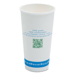 NatureHouse® Compostable Insulated Ripple-Grip Hot Cups, 20oz, White, 500/Carton