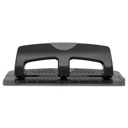 Swingline 20-Sheet SmartTouch Three-Hole Punch, 9/32 in Holes, Black/Gray