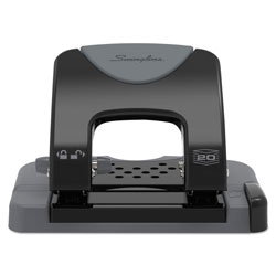 Swingline 20-Sheet SmartTouch Two-Hole Punch, 9/32 in Holes, Black/Gray