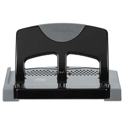 Swingline 45-Sheet SmartTouch Three-Hole Punch, 9/32 in Holes, Black/Gray