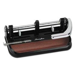 Swingline 40-Sheet Heavy-Duty Lever Action 2-to-7-Hole Punch, 11/32 in Hole, Black/Woodgrain