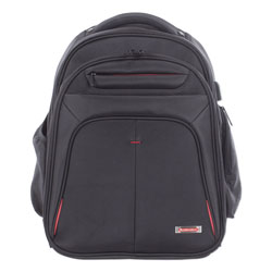 Swiss Mobility Purpose 2 Section Business Backpack, Laptops 15.6 in, 8.5 in x 8.5 in x 19.5 in, Black