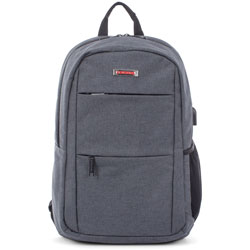 Swiss Mobility Backpack, RFID, USB Charging Port, 5 inWx13 inLx18-1/2 inH, Gray