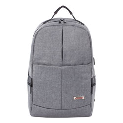 Swiss Mobility Sterling Slim Business Backpack, Holds Laptops 15.6 in, 5.5 in x 5.5 in x 18 in, Gray
