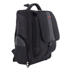 Swiss Mobility Litigation Backpack On Wheels, Holds Laptops 15.6 in, 9 in x 9 in x 18 in, Black