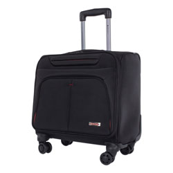 Swiss Mobility Purpose Overnight Business Case On Spinner Wheels, 9.5 in x 9.5 in x 17.5 in, Black