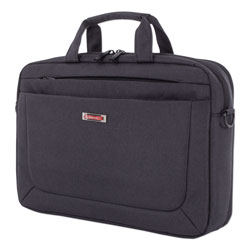 Swiss Mobility Cadence 2 Section Briefcase, Holds Laptops 15.6 in, 4.5 in x 4.5 in x 16 in, Charcoal
