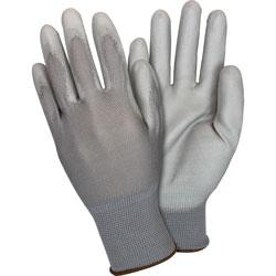 The Safety Zone Nylon Knit Gloves, PU-coated, Medium, 12 Pairs/DZ, Gray