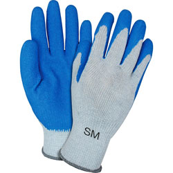 The Safety Zone Latex-coated Gloves, Knit, Small, 12 Pairs/DZ, Blue/Gray