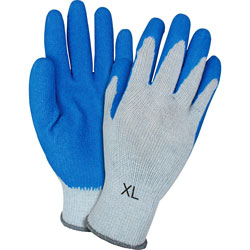 The Safety Zone Latex-coated Gloves, Knit, X-Large, 12 Pairs/DZ, Blue/Gray
