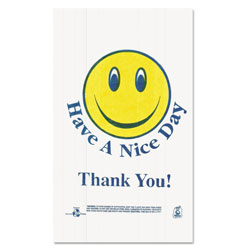 Sweet Paper Smiley Face Shopping Bags, 12.5 microns, 11.5 in x 21 in, White, 900/Carton