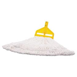 Rubbermaid Nylon Finish Mop Head, Medium, White, 6/Carton