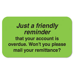 Tabbies Billing Collection Labels, Friendly Reminder, 0.88 x 1.5, Green, 250/Roll