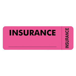 "Tabbies Insurance Labels, 3""x1"", Pink"