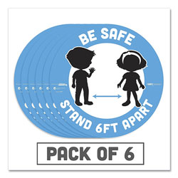 Tabbies BeSafe Messaging Education Floor Signs, Be Safe; Stand 6 Ft Apart, 12 in dia, White/Blue, 6/Pack