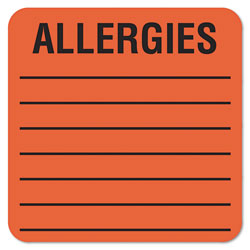 Tabbies Allergy Warning Labels, ALLERGIES, 2 x 2, Fluorescent Red, 500/Roll