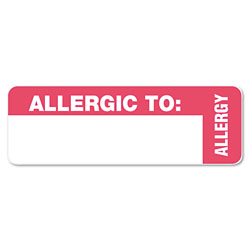 Tabbies Medical Labels, ALLERGIC TO, 1 x 3, White, 500/Roll