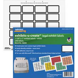 "Tabbies Exhibit Labels, 1 5/8""x1"", 240 Labels/Pack, White"