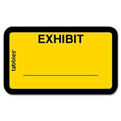 "Tabbies Legal Exhibit Labels, "" Exhibit"" 1-5/8"" x 1"" Yellow"