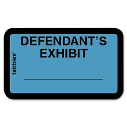 """Tabbies Legal Exhibit Labels, """"Defendant"""", 1 5/8""""x1"""", Blue"""