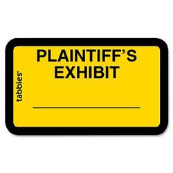 "Tabbies Legal Exhibit Labels, ""Plaintiff's"", 1-5/8""x1"", Yellow"
