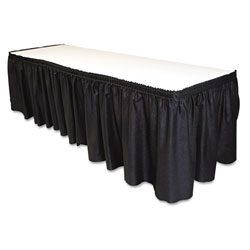 Tablemate Table Set Linen-Like Table Skirting, 29 in x 14ft, Black