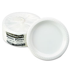 Tablemate Plastic Dinnerware, Plates, 10 1/4 in dia, White, 125/Pack