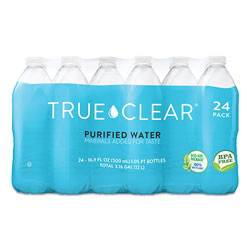 True Clear® Purified Bottled Water, 16.9 oz Bottle, 24 Bottles/Carton, 84 Cartons/Pallet