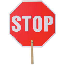 Tatco Handheld Stop Sign, 18 inx.1/5 inx18 in, White/Red