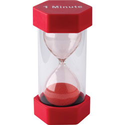Teacher Created Resources Sand Timer, 1-Minute, 3-1/4 inWx3-1/4 inLx6-3/8 inH, Red
