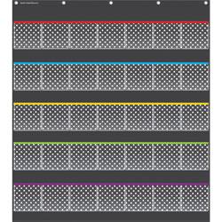 Teacher Created Resources Polka Dots Storage Pocket Chart, 32-1/2 in x 36-1/2 in, Black