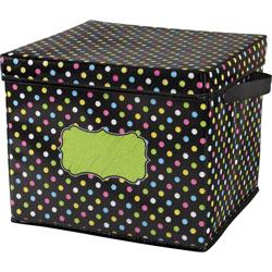 Teacher Created Resources Storage Bin, Chalkboard Brights, 13 inWx12 inLx10-1/2 inH, Multi