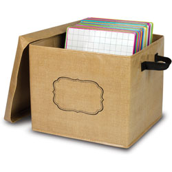 Teacher Created Resources Storage Box w/Erasable Label, Burlap, 12 inx13 inx10-1/2 in, Brown