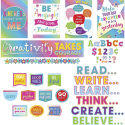 Teacher Created Resources Decorative Set, Colorful Vibes, 18 inWx30-1/4 inLx1-1/2 inH, Multi