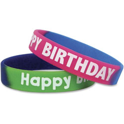 Teacher Created Resources Two-Toned Happy Birthday Wristbands, Assorted Colors, 10/Pack