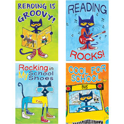Teacher Created Resources Posters, Pete the Cat, 13-3/8 inx19 in, 4 Posters/Set, Multi