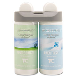 Rubbermaid Microburst Duet Refills, Gentle Breeze/Linen Fresh, 3 oz, 4/Carton