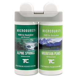 Rubbermaid Microburst Duet Refills, Alpine Springs/Mountain Peaks, 3 oz, 4/Carton