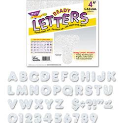 Trend Enterprises Ready Letters Sparkles Letter Set, Silver Sparkle, 4 inh, 71/Set