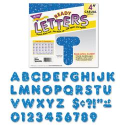 Trend Enterprises Ready Letters Sparkles Letter Set, Blue Sparkle, 4 inh, 71/Set