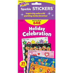 Trend Enterprises Stickers, Holiday Celebration, 648 EA/PK, MI