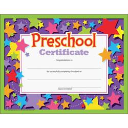 Trend Enterprises Colorful Classic Certificates, Preschool Certificate, 8 1/2 x 11, 30 per Pack